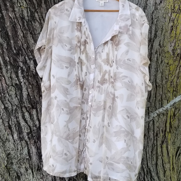 ee473f0a57c Coldwater Creek Tops | Floral Sheer Tunic Neutral | Poshmark